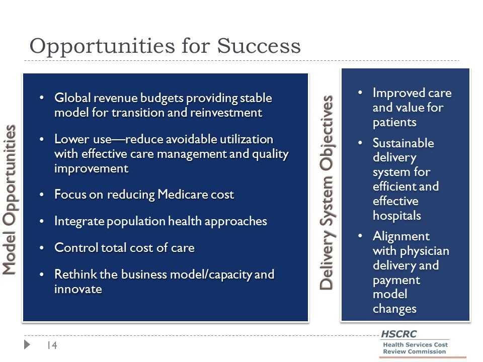 14 Opportunities for Success Model Opportunities Global revenue budgets providing stable model for transition and reinvestment Global revenue budgets