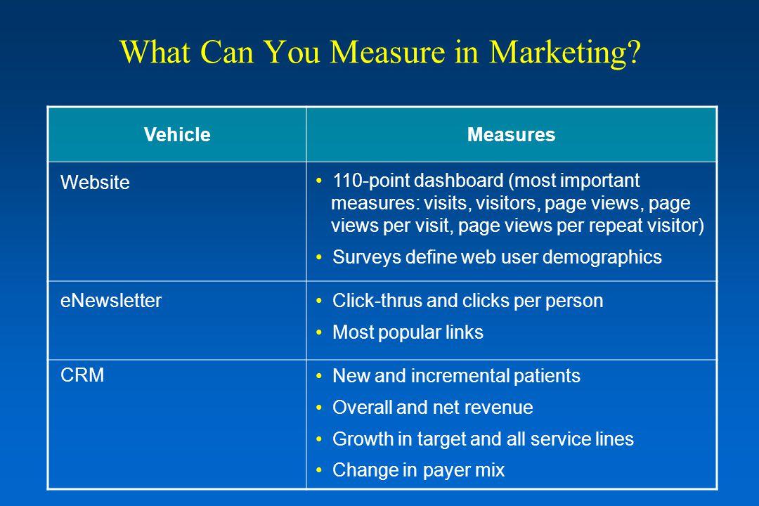 VehicleMeasures Website eNewsletter CRM 110-point dashboard (most important measures: visits, visitors, page views, page views per visit, page views p