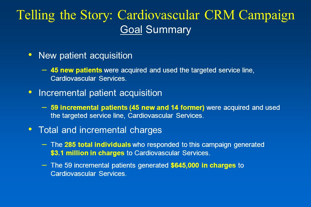 Telling the Story: Cardiovascular CRM Campaign Goal Summary New patient acquisition – 45 new patients were acquired and used the targeted service line