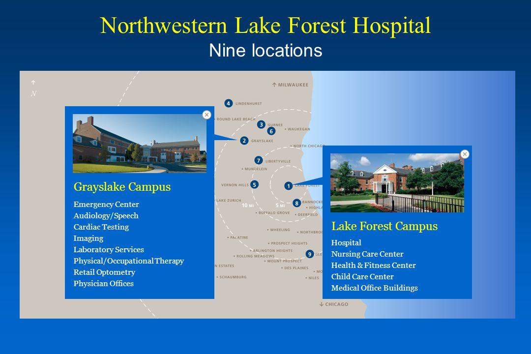 Northwestern Lake Forest Hospital Nine locations Lake Forest Campus Hospital Nursing Care Center Health & Fitness Center Child Care Center Medical Off
