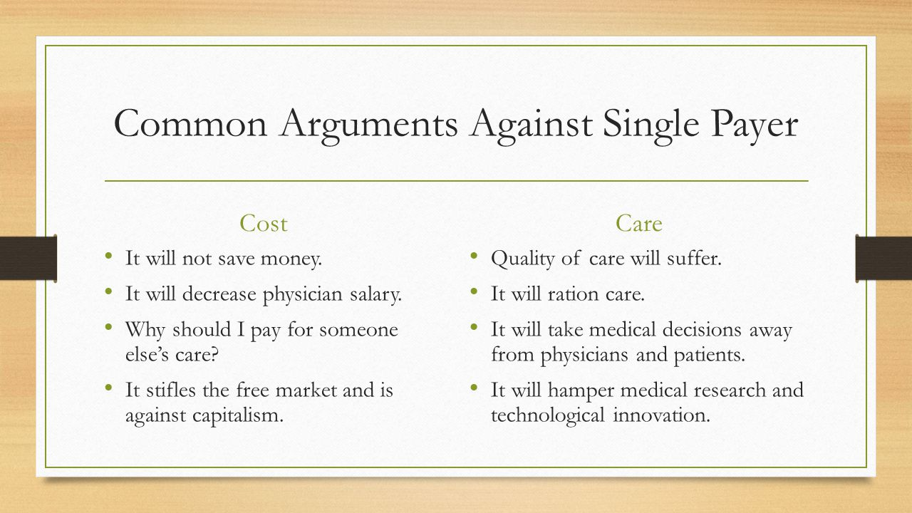 Common Arguments Against Single Payer Cost It will not save money.