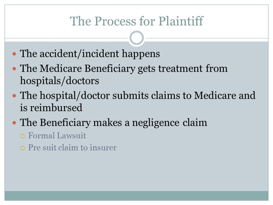 The Process for Plaintiff The accident/incident happens The Medicare Beneficiary gets treatment from hospitals/doctors The hospital/doctor submits claims to Medicare and is reimbursed The Beneficiary makes a negligence claim  Formal Lawsuit  Pre suit claim to insurer