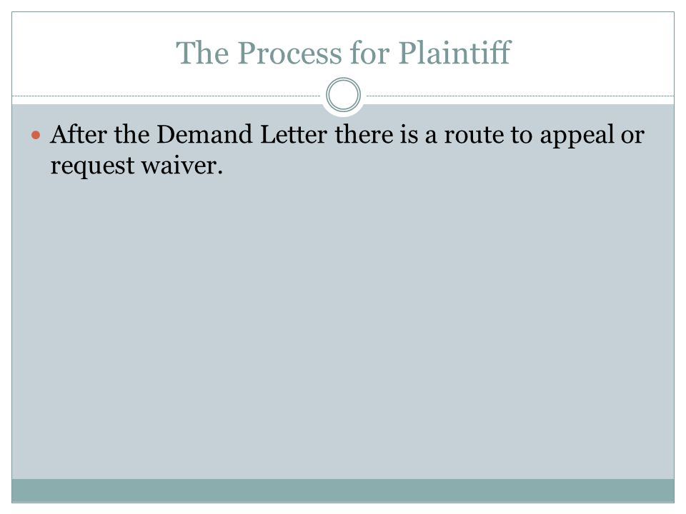 The Process for Plaintiff After the Demand Letter there is a route to appeal or request waiver.