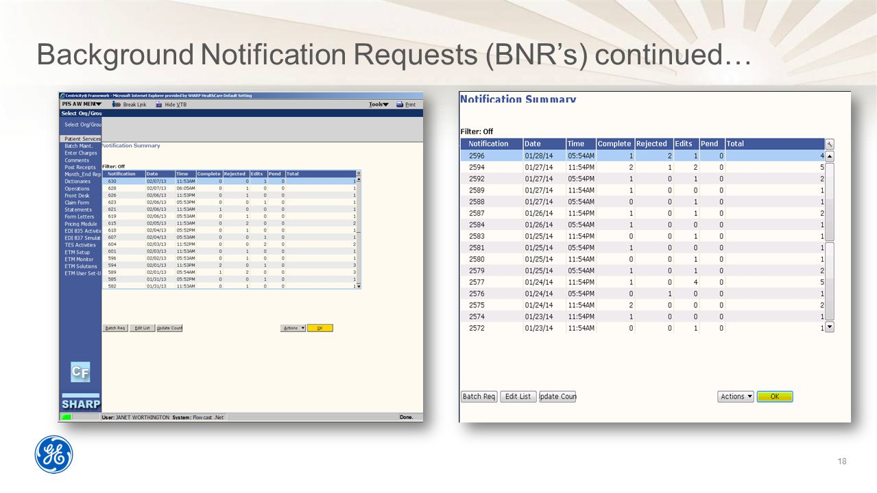 Background Notification Requests (BNR's) continued… 18