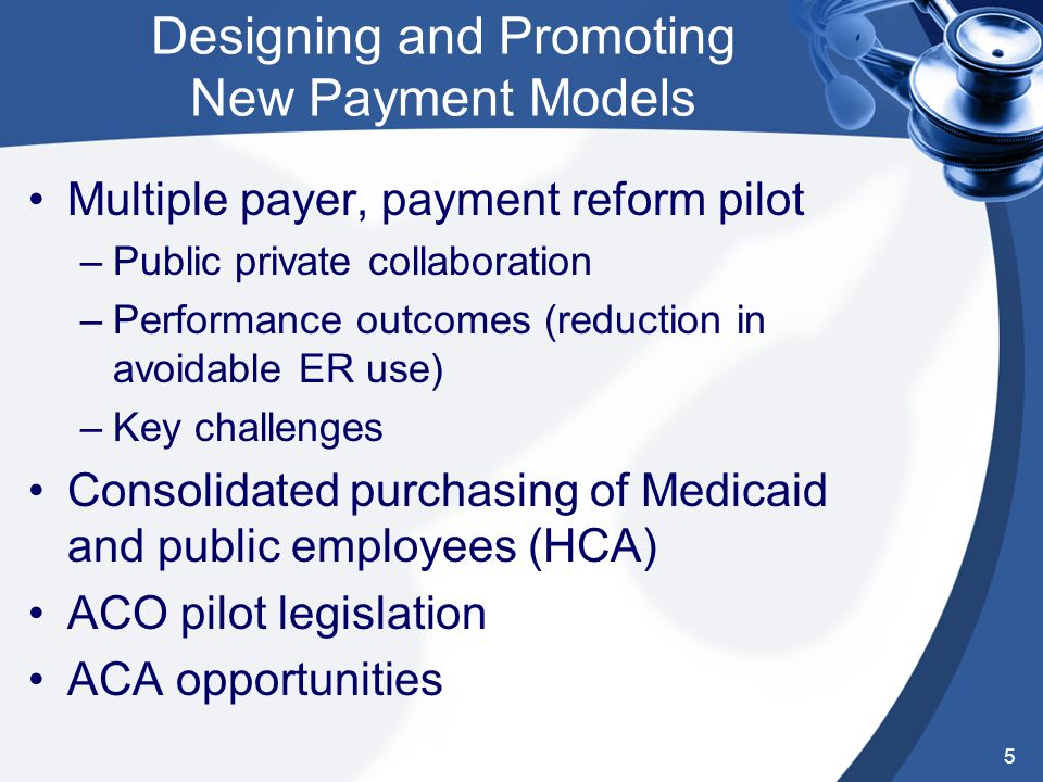 Designing and Promoting New Payment Models Multiple payer, payment reform pilot –Public private collaboration –Performance outcomes (reduction in avoidable ER use) –Key challenges Consolidated purchasing of Medicaid and public employees (HCA) ACO pilot legislation ACA opportunities 5
