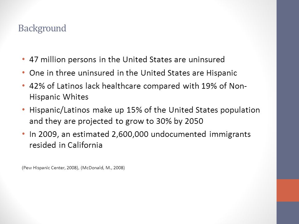 Background 47 million persons in the United States are uninsured One in three uninsured in the United States are Hispanic 42% of Latinos lack healthca