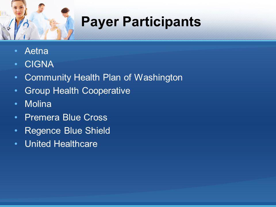 Payer Participants Aetna CIGNA Community Health Plan of Washington Group Health Cooperative Molina Premera Blue Cross Regence Blue Shield United Healthcare