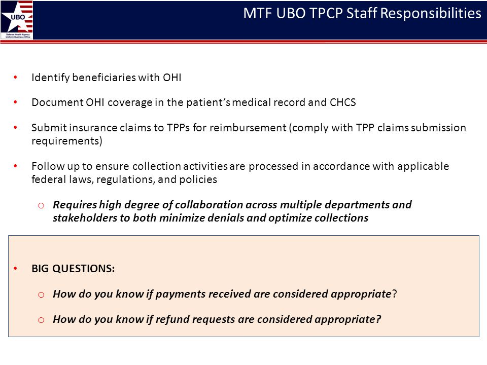MTF UBO TPCP Staff Responsibilities Identify beneficiaries with OHI Document OHI coverage in the patient's medical record and CHCS Submit insurance cl