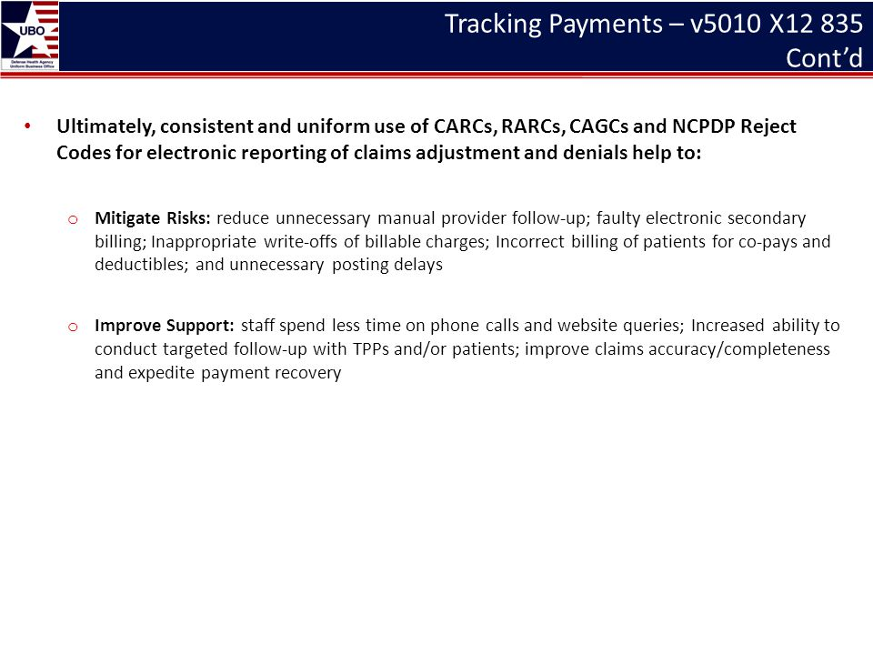 Tracking Payments – v5010 X12 835 Cont'd Ultimately, consistent and uniform use of CARCs, RARCs, CAGCs and NCPDP Reject Codes for electronic reporting