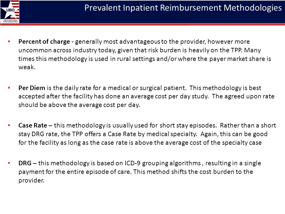 Prevalent Inpatient Reimbursement Methodologies Percent of charge - generally most advantageous to the provider, however more uncommon across industry