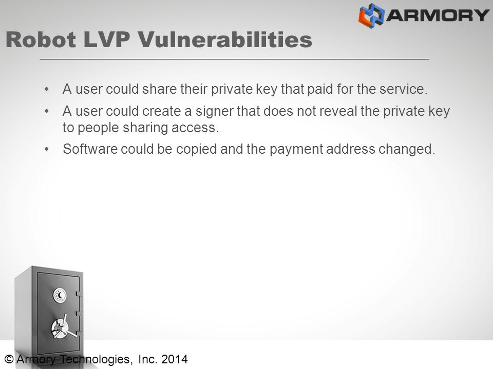 Robot LVP Vulnerabilities A user could share their private key that paid for the service.