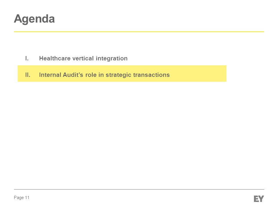 Page 11 Agenda I.Healthcare vertical integration II.Internal Audit's role in strategic transactions