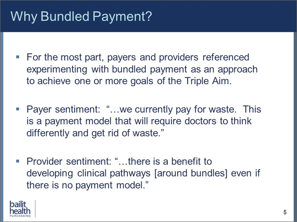 Why Bundled Payment.