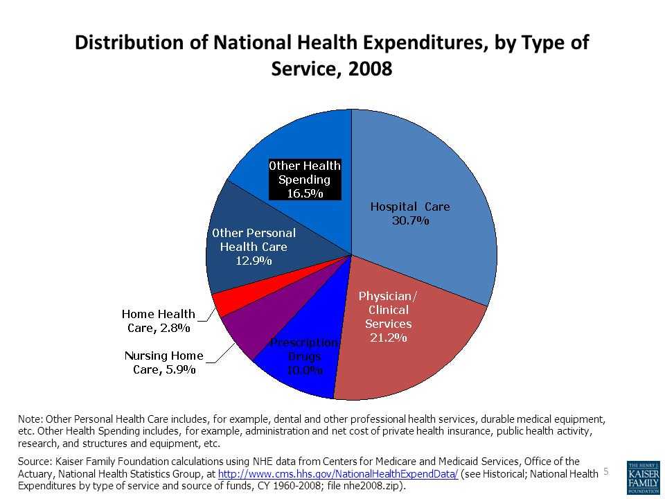 Distribution of National Health Expenditures, by Type of Service, 2008 Note: Other Personal Health Care includes, for example, dental and other profes