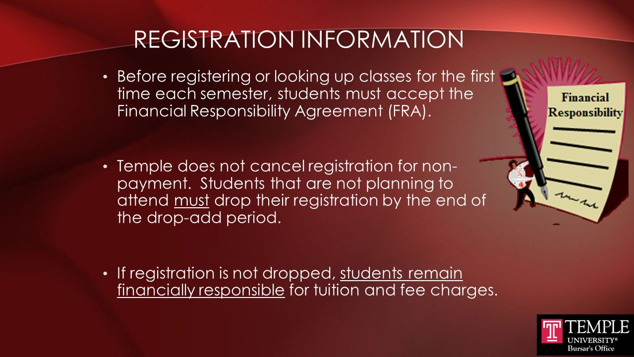 BILLING SCHEDULE Students are not billed until they are registered.