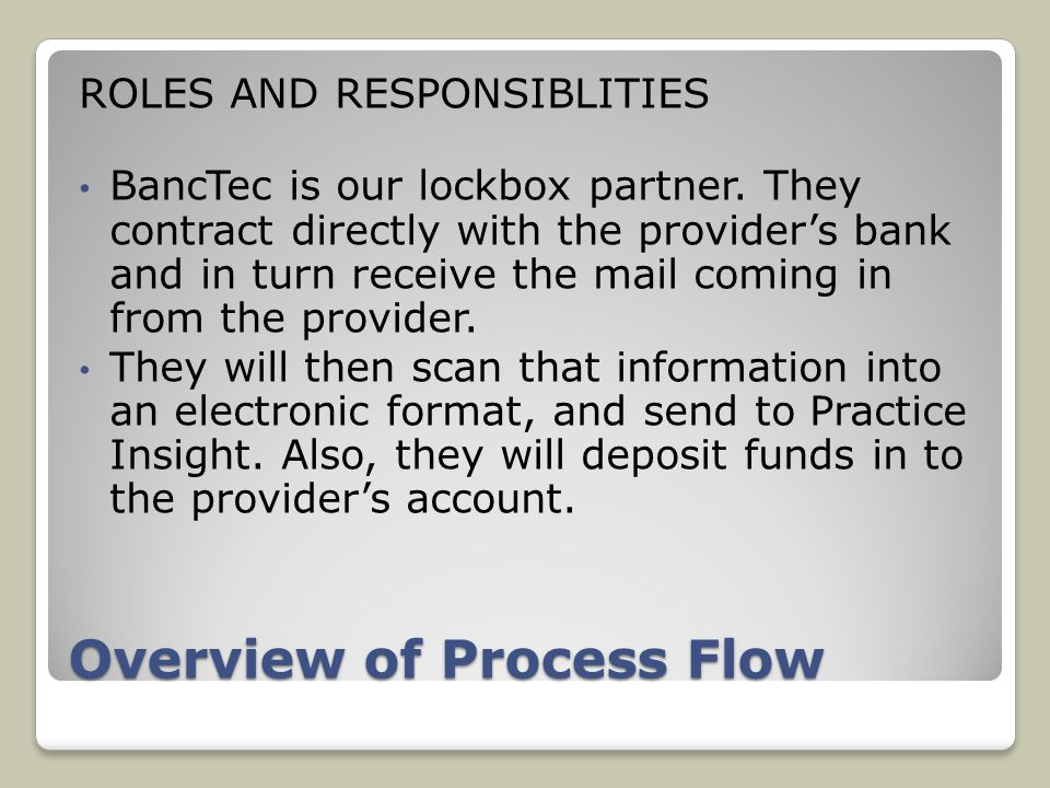 Overview of Process Flow ROLES AND RESPONSIBLITIES BancTec is our lockbox partner.