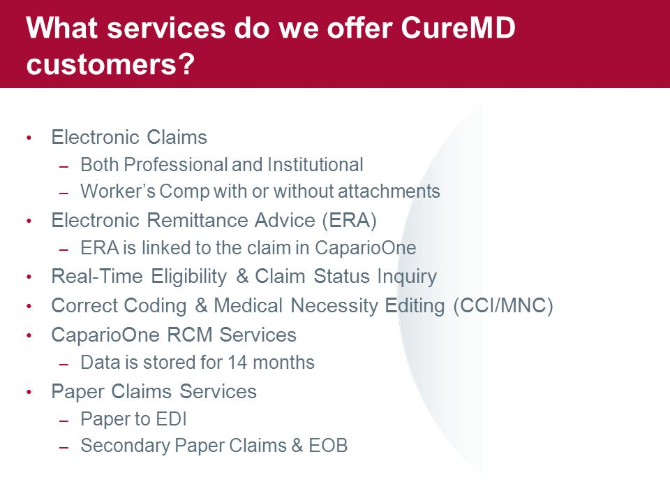 What services do we offer CureMD customers.