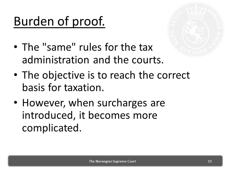 Burden of proof.The same rules for the tax administration and the courts.