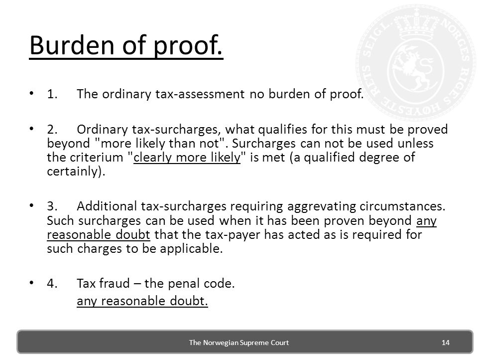 Burden of proof.1.The ordinary tax-assessment no burden of proof.
