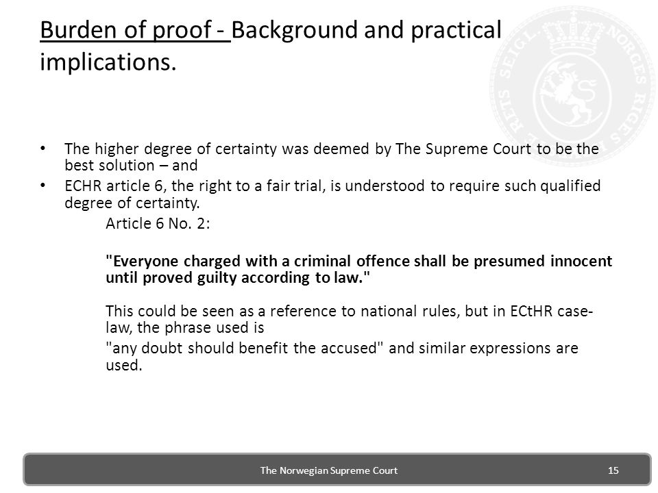 Burden of proof - Background and practical implications.