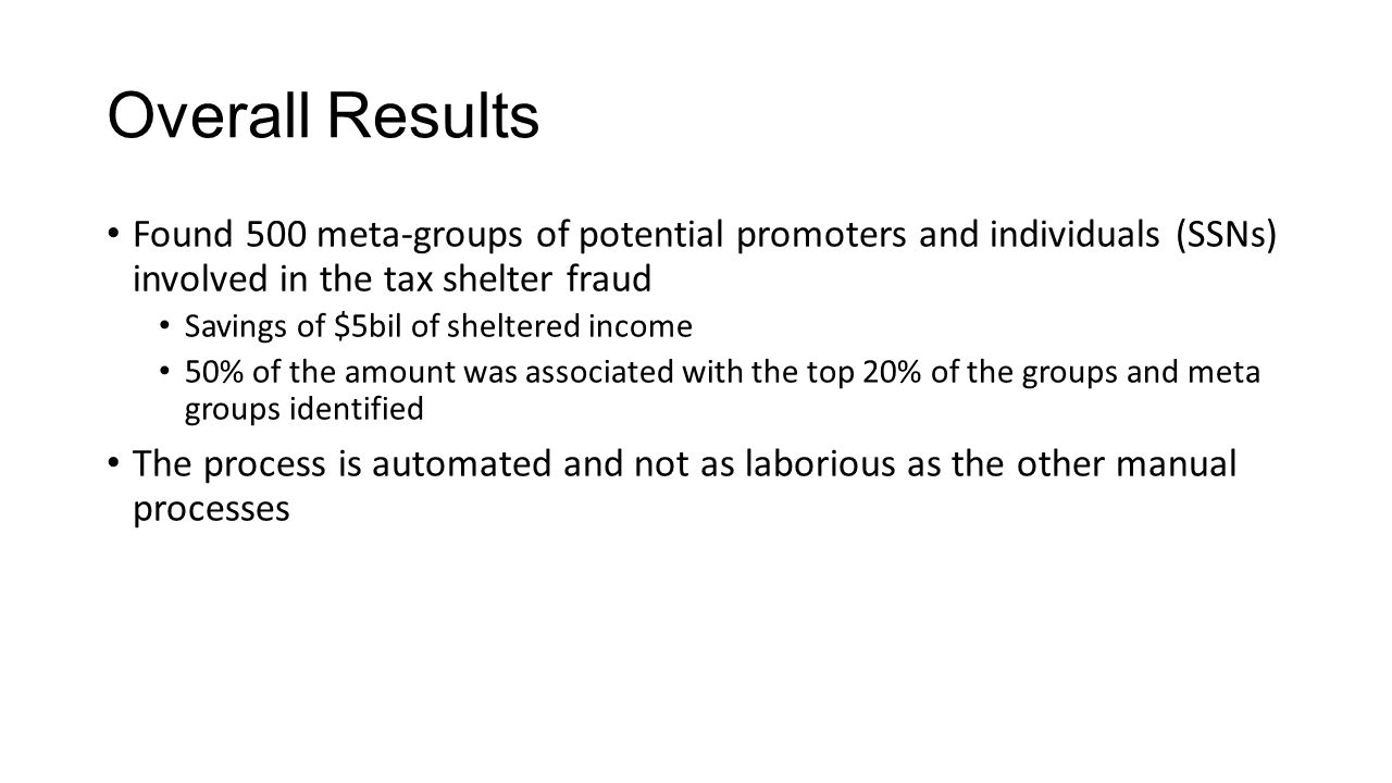 Overall Results Found 500 meta-groups of potential promoters and individuals (SSNs) involved in the tax shelter fraud Savings of $5bil of sheltered income 50% of the amount was associated with the top 20% of the groups and meta groups identified The process is automated and not as laborious as the other manual processes