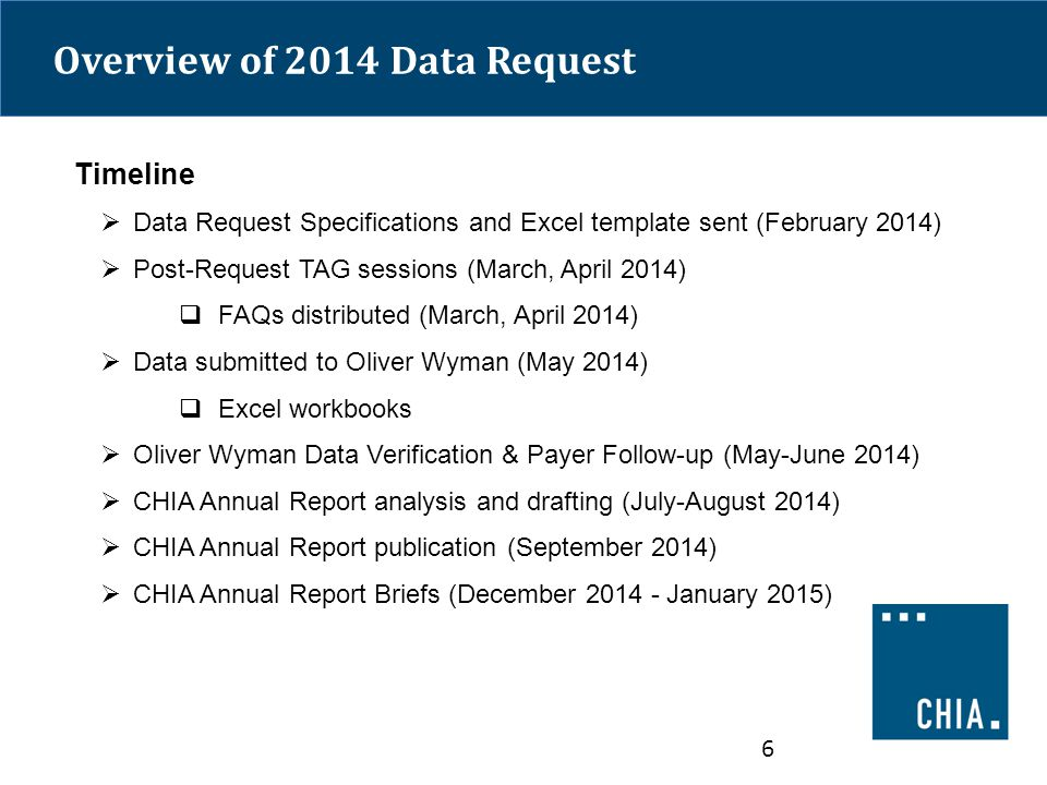 Overview of 2014 Data Request Timeline  Data Request Specifications and Excel template sent (February 2014)  Post-Request TAG sessions (March, April 2014)  FAQs distributed (March, April 2014)  Data submitted to Oliver Wyman (May 2014)  Excel workbooks  Oliver Wyman Data Verification & Payer Follow-up (May-June 2014)  CHIA Annual Report analysis and drafting (July-August 2014)  CHIA Annual Report publication (September 2014)  CHIA Annual Report Briefs (December 2014 - January 2015) 6