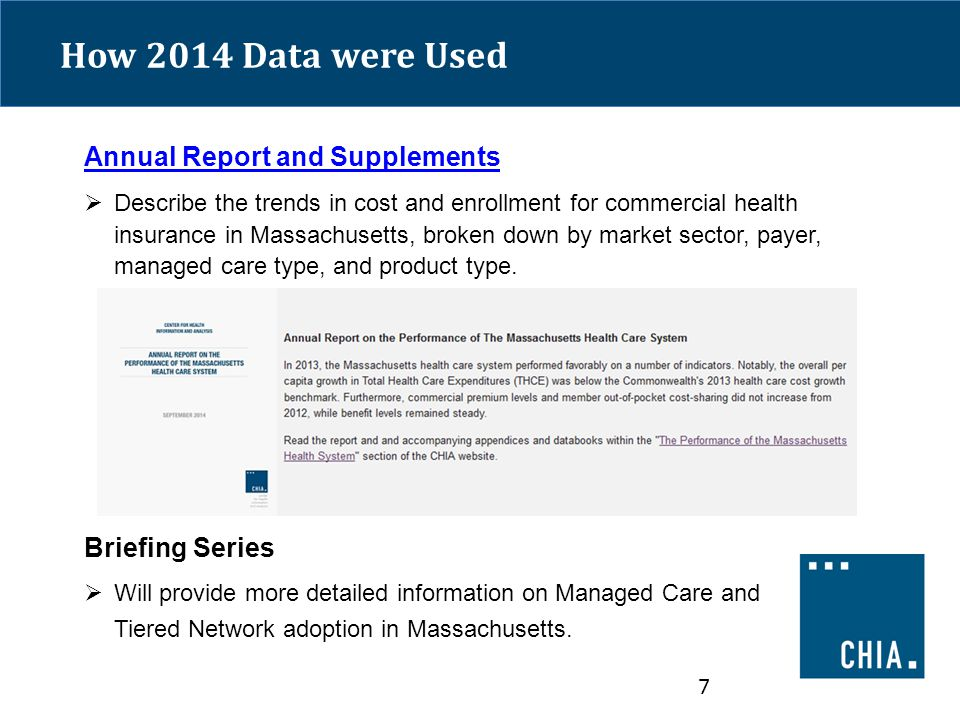 How 2014 Data were Used Annual Report and Supplements  Describe the trends in cost and enrollment for commercial health insurance in Massachusetts, broken down by market sector, payer, managed care type, and product type.