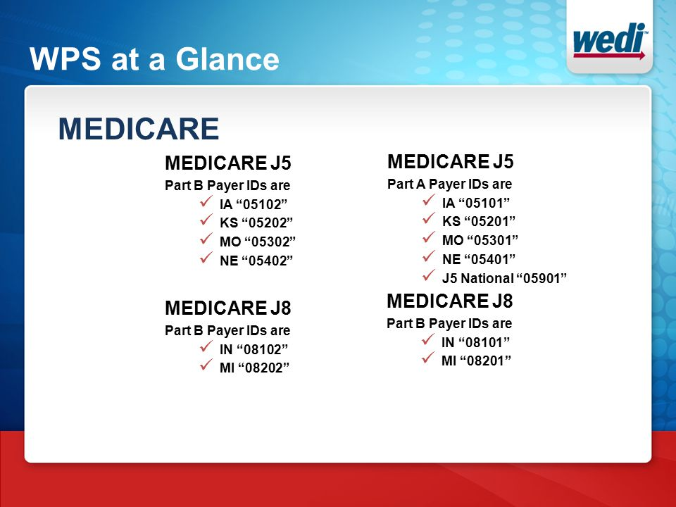 WPS at a Glance MEDICARE MEDICARE J5 Part B Payer IDs are IA 05102 KS 05202 MO 05302 NE 05402 MEDICARE J5 Part A Payer IDs are IA 05101 KS 05201 MO 05301 NE 05401 J5 National 05901 MEDICARE J8 Part B Payer IDs are IN 08102 MI 08202 MEDICARE J8 Part B Payer IDs are IN 08101 MI 08201