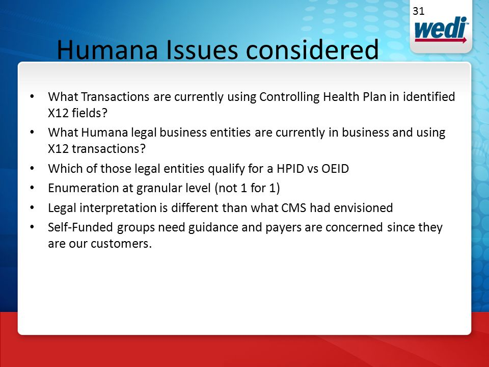 Humana Issues considered What Transactions are currently using Controlling Health Plan in identified X12 fields.