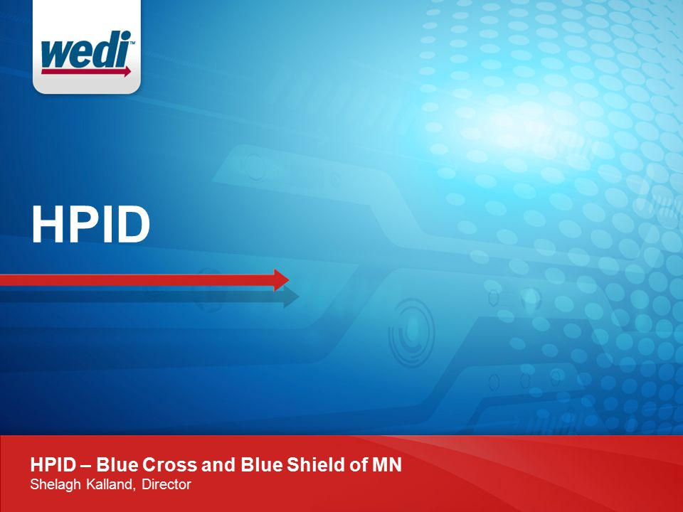 HPID HPID – Blue Cross and Blue Shield of MN Shelagh Kalland, Director