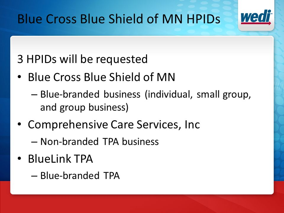 Blue Cross Blue Shield of MN HPIDs 3 HPIDs will be requested Blue Cross Blue Shield of MN – Blue-branded business (individual, small group, and group business) Comprehensive Care Services, Inc – Non-branded TPA business BlueLink TPA – Blue-branded TPA