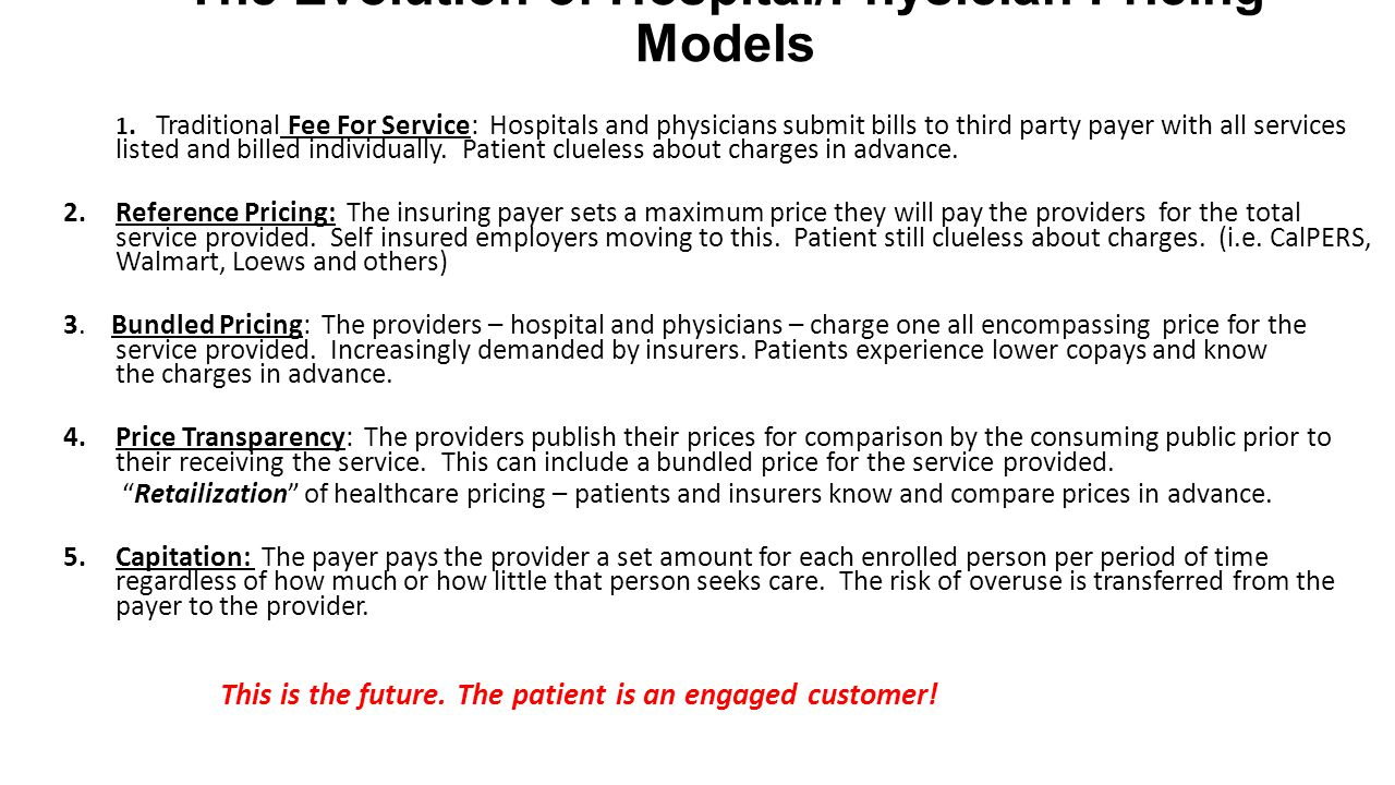 The Evolution of Hospital/Physician Pricing Models 1.