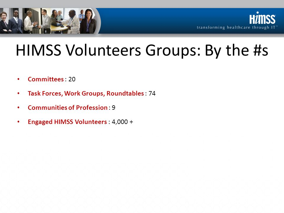 HIMSS Volunteers Groups: By the #s Committees : 20 Task Forces, Work Groups, Roundtables : 74 Communities of Profession : 9 Engaged HIMSS Volunteers :