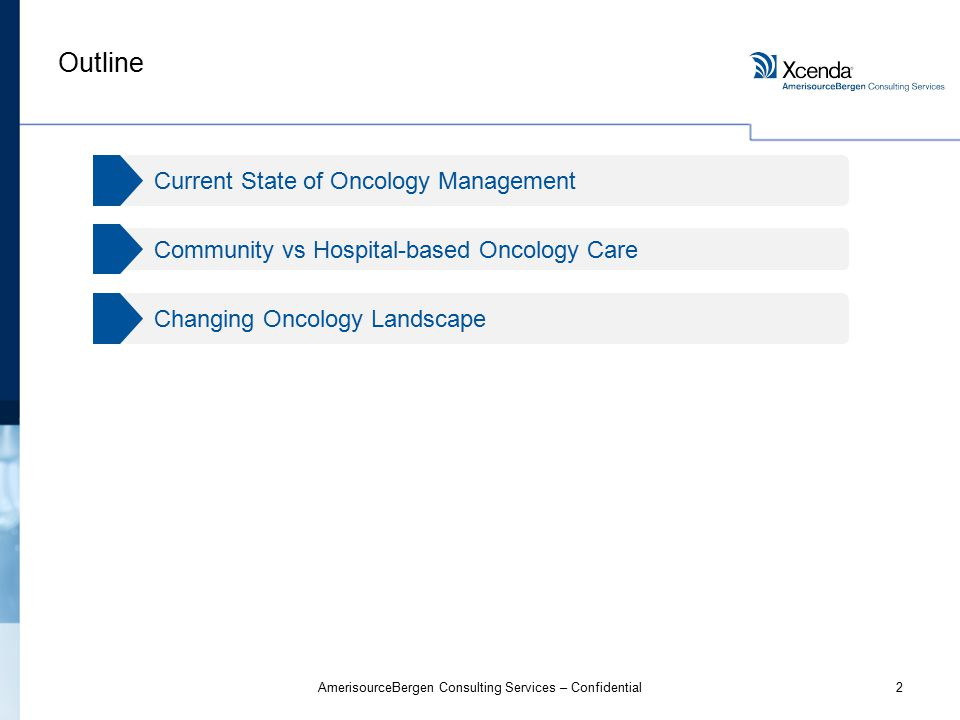 2AmerisourceBergen Consulting Services – Confidential Outline Changing Oncology Landscape Community vs Hospital-based Oncology Care Current State of Oncology Management