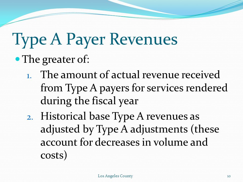 Type A Payer Revenues The greater of: 1.