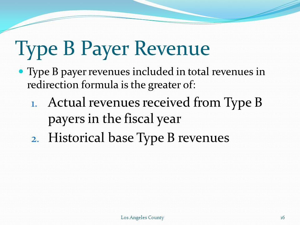 Type B Payer Revenue Type B payer revenues included in total revenues in redirection formula is the greater of: 1.