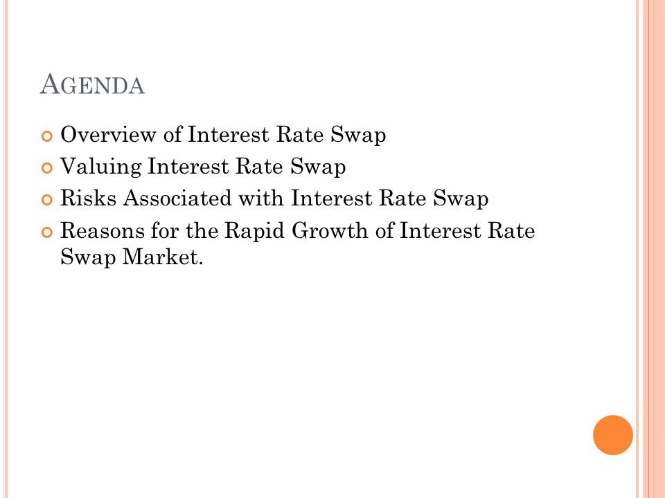 A GENDA Overview of Interest Rate Swap Valuing Interest Rate Swap Risks Associated with Interest Rate Swap Reasons for the Rapid Growth of Interest Rate Swap Market.