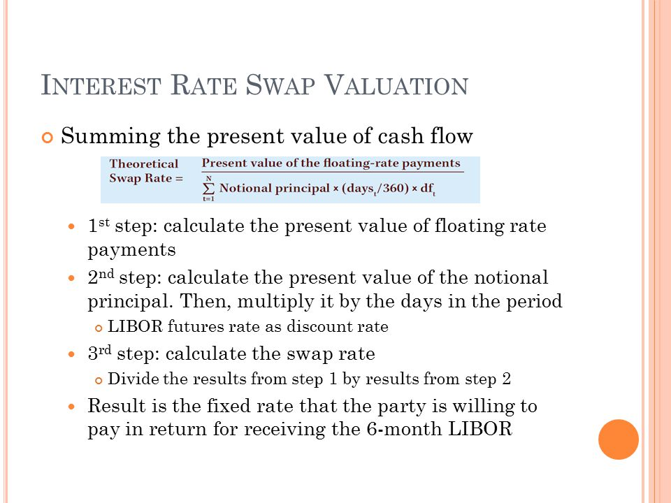 I NTEREST R ATE S WAP V ALUATION Summing the present value of cash flow 1 st step: calculate the present value of floating rate payments 2 nd step: calculate the present value of the notional principal.