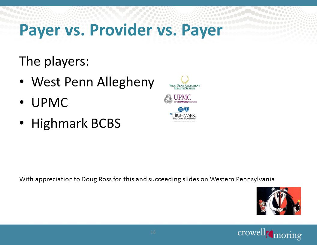 Payer vs. Provider vs. Payer The players: West Penn Allegheny UPMC Highmark BCBS With appreciation to Doug Ross for this and succeeding slides on West