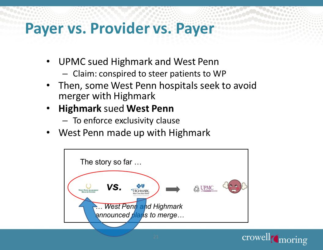 Payer vs. Provider vs. Payer UPMC sued Highmark and West Penn – Claim: conspired to steer patients to WP Then, some West Penn hospitals seek to avoid