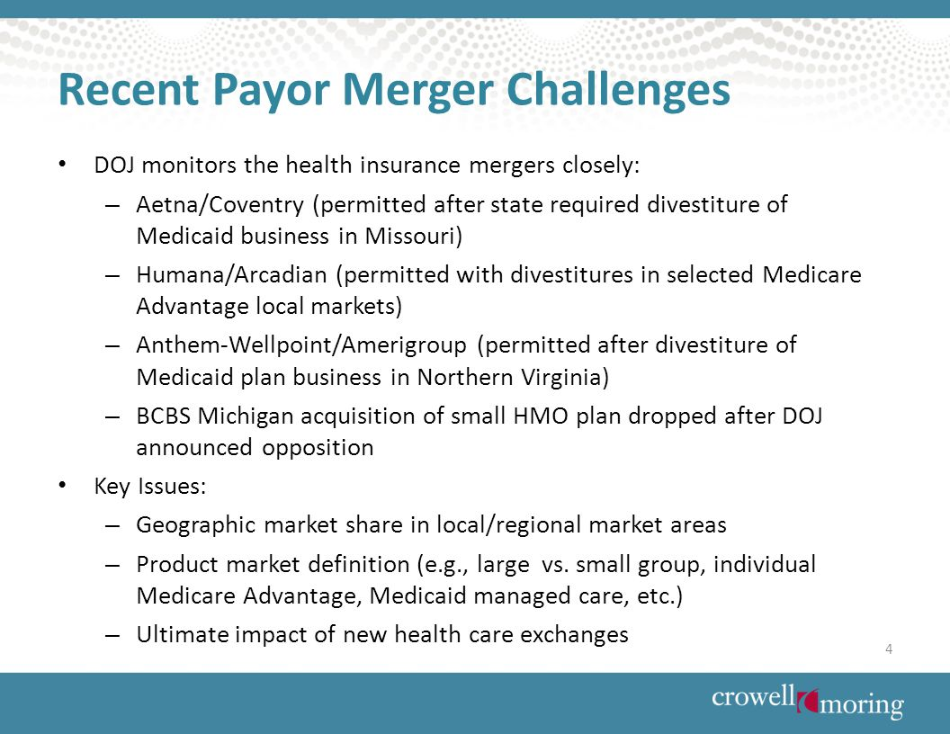 DOJ monitors the health insurance mergers closely: – Aetna/Coventry (permitted after state required divestiture of Medicaid business in Missouri) – Humana/Arcadian (permitted with divestitures in selected Medicare Advantage local markets) – Anthem-Wellpoint/Amerigroup (permitted after divestiture of Medicaid plan business in Northern Virginia) – BCBS Michigan acquisition of small HMO plan dropped after DOJ announced opposition Key Issues: – Geographic market share in local/regional market areas – Product market definition (e.g., large vs.