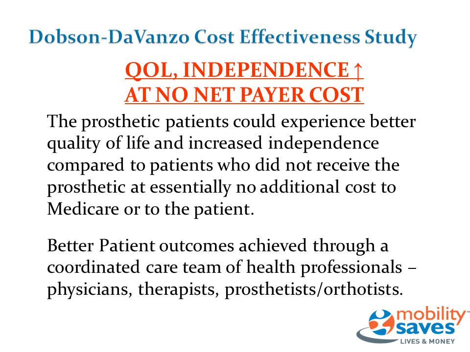 QOL, INDEPENDENCE ↑ AT NO NET PAYER COST The prosthetic patients could experience better quality of life and increased independence compared to patients who did not receive the prosthetic at essentially no additional cost to Medicare or to the patient.