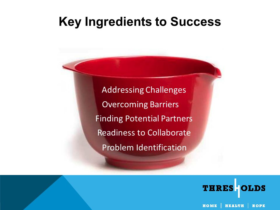 Key Ingredients to Success Problem Identification Readiness to Collaborate Finding Potential Partners Overcoming Barriers Addressing Challenges