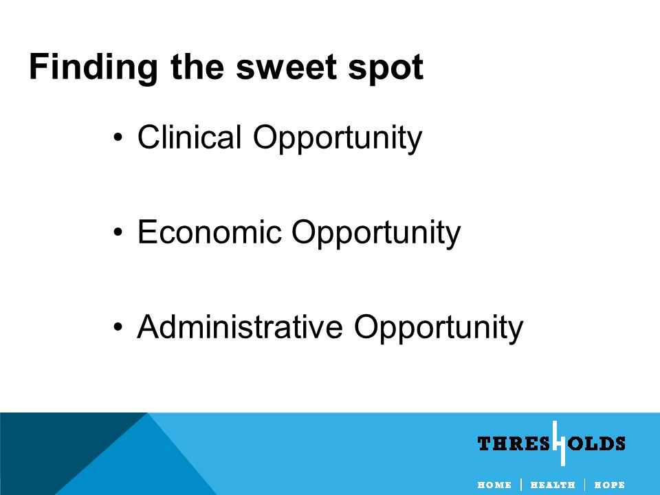 Finding the sweet spot Clinical Opportunity Economic Opportunity Administrative Opportunity