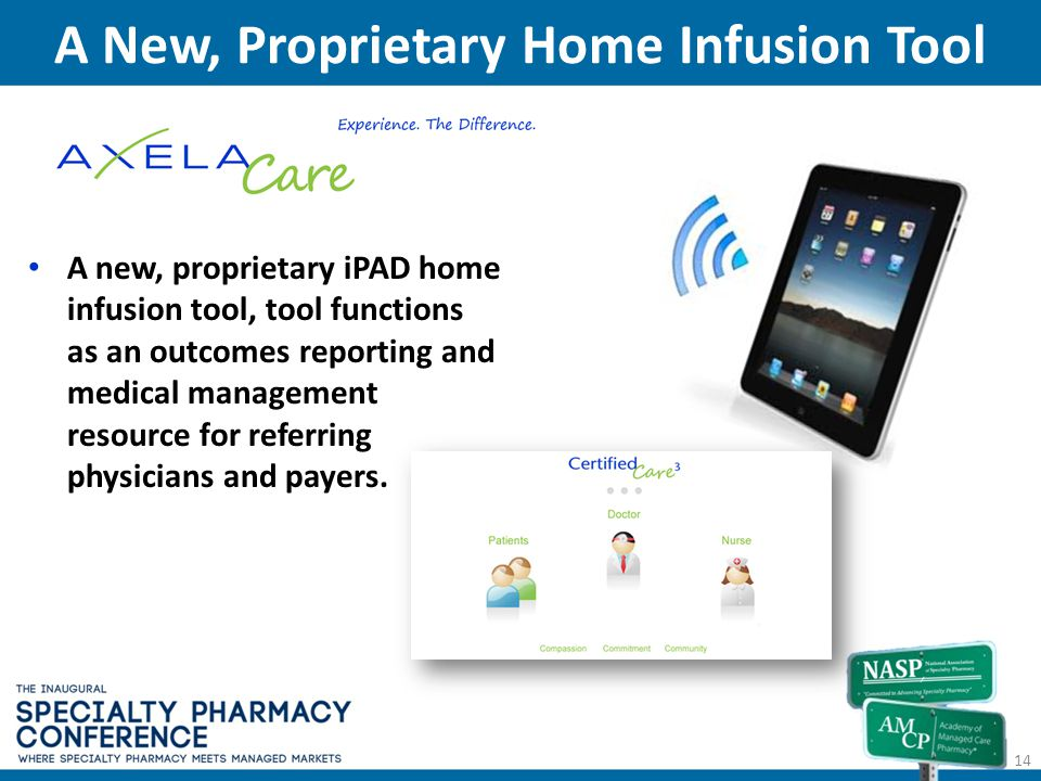 A New, Proprietary Home Infusion Tool 14 A new, proprietary iPAD home infusion tool, tool functions as an outcomes reporting and medical management re