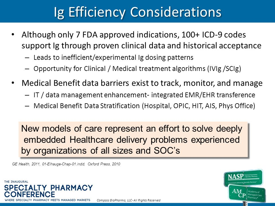 Ig Efficiency Considerations Although only 7 FDA approved indications, 100+ ICD-9 codes support Ig through proven clinical data and historical accepta