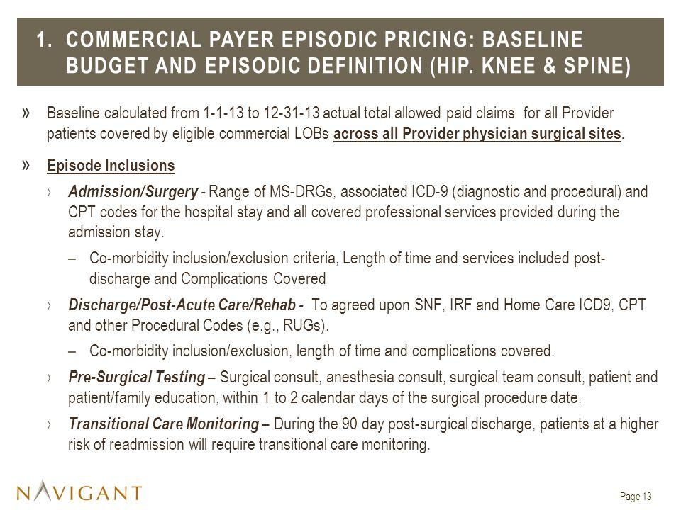 » Baseline calculated from 1-1-13 to 12-31-13 actual total allowed paid claims for all Provider patients covered by eligible commercial LOBs across all Provider physician surgical sites.