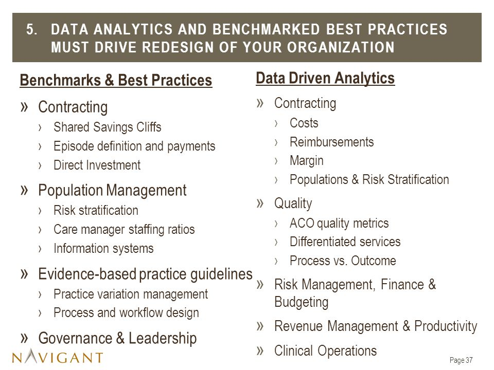 Benchmarks & Best Practices » Contracting ›Shared Savings Cliffs ›Episode definition and payments ›Direct Investment » Population Management ›Risk stratification ›Care manager staffing ratios ›Information systems » Evidence-based practice guidelines ›Practice variation management ›Process and workflow design » Governance & Leadership 5.