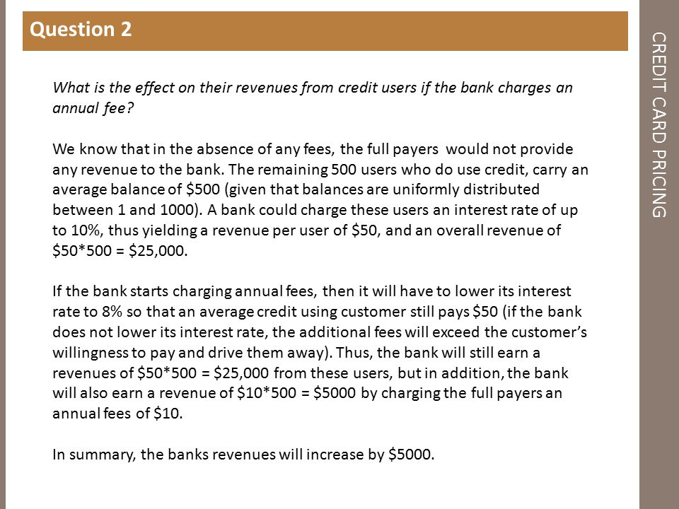 CREDIT CARD PRICING Question 2 What is the effect on their revenues from credit users if the bank charges an annual fee.