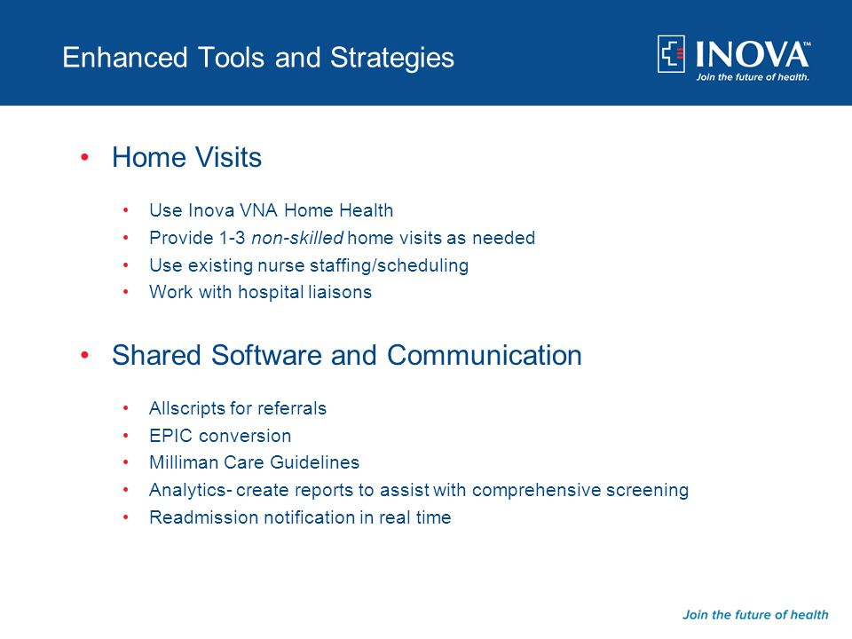 Enhanced Tools and Strategies Home Visits Use Inova VNA Home Health Provide 1-3 non-skilled home visits as needed Use existing nurse staffing/scheduli